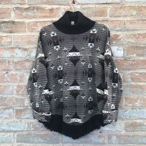 Vintage Southwest Sweater Grey Knit Turtleneck Top